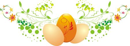 Three eggs with decorative twigs stock photo