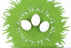 Three eggs on Easter tablecloth Stock Images
