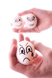 Three eggs in hands isolated Stock Image