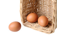 Three Eggs In A Basket Closeup Royalty Free Stock Photo