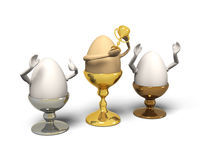 Three Eggs In Eggcups Are Winner. Royalty Free Stock Images