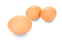 Three Eggs Isolated. Three large eggs on a white background Stock Photography
