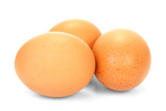 Three Eggs Isolated. Three large eggs on a white background Stock Photo