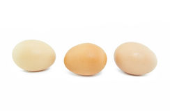 Three eggs isolated on white background Royalty Free Stock Photos