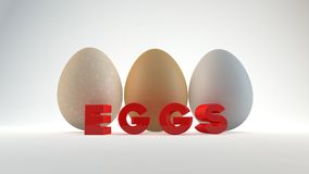 Three eggs isolated on white background. Royalty Free Stock Photography