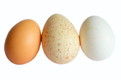 Three eggs isolated white background. Three eggs isolated on white background Royalty Free Stock Photography