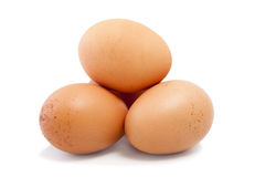 Three eggs isolated on white poultry Stock Image