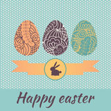 Three eggs with lace pattern for Easter greetings vector illustration