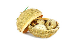 Three eggs in a little basket Royalty Free Stock Photography