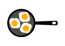 Three Eggs On Pan Stock Photo