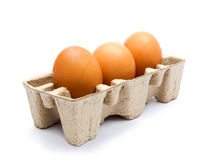 Three eggs in the package Stock Photography
