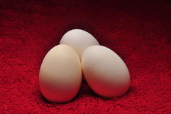 Three Eggs On Red Fabric. Tree Eggs on Red Fabric Under Spotlight Royalty Free Stock Images