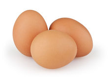 Three eggs  on white. Background with clipping path Royalty Free Stock Images