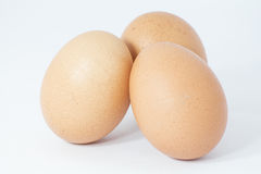 Three eggs on white background. Three eggs isolated on white background Stock Photography