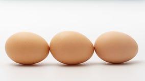 Three eggs on a white background.  Royalty Free Stock Photos