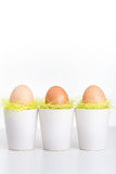 Three eggs in white cups. On table - bright image Royalty Free Stock Image