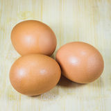 Three eggs on wood Royalty Free Stock Photography