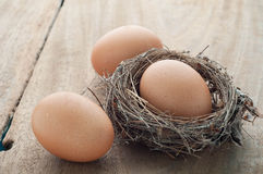 Three eggs on wooden. Stock Photography