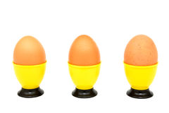 Three eggs. Eggs in a yellow cup on a white background. Horizontal position Stock Image