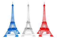 Three Eiffel towers in French flag colors. On a white background Stock Photo