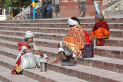 Three elderly Indian piligrims baba, sadhu in Rishikesh. Stock Images