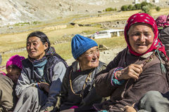 Three elderly tibetan woman with her traditional clothes Royalty Free Stock Images