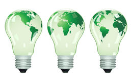 Three electric bulbs with maps. Vector illustration Royalty Free Stock Images