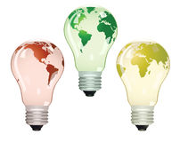 Three electric bulbs with maps Stock Images