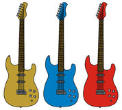 Three electric guitars Royalty Free Stock Photos