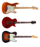 Three Electric guitars on white background Royalty Free Stock Image