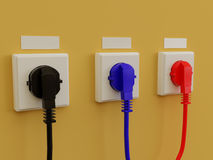 Three electric socket. 3d illustration electric socket. High resolution image. Electric cable Stock Images