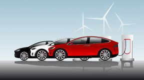 Three electric vehicles are charged at the charging stations royalty free illustration