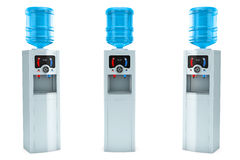 Three Electric water coolers with bottles Stock Photos