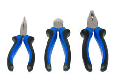 Three electricians tool: pliers on a white Stock Photos