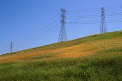 Three Electricity Pylons. On a hill over clear blue sky Royalty Free Stock Photos