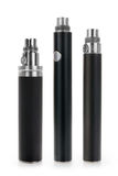 Three electronic cigarette li-ion batteries. Group of three electronic cigarette li-ion batteries isolated on white with clipping path Royalty Free Stock Photography