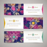 Three elegant banners with floral background Royalty Free Stock Photography