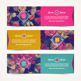 Three elegant banners with floral background Stock Photo