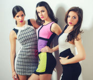 Three elegant beautiful girls posing isolated on white Stock Photo