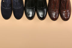 Three Elegant classic shoes. Three couples Elegant classic shoes Royalty Free Stock Image