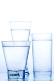 Three elegant glass of water Stock Photo
