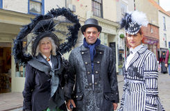 Three elegant participants on Whitby Gothic Weekend. Royalty Free Stock Photos