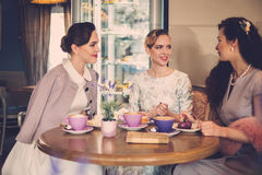 Three elegant young ladies in a cafe.  royalty free stock photo
