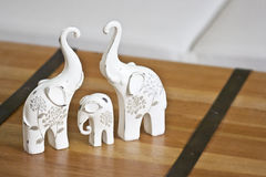 Three with elephant. Three ceramic elephant on desk. feng-shui symbol od hapiness Royalty Free Stock Photography