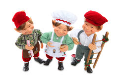 Three elves at Chritsmas SMiling Stock Image