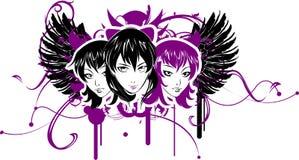 Three Emo Girls vector illustration