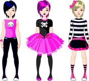 Three Emo stile girls vector illustration