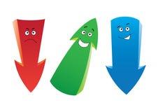 Three emotion arrows. Set of the cartoon emotion arrows Stock Photos