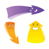 Three emotion arrows. Set of the cartoon emotion arrows Royalty Free Stock Photography