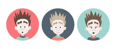 Three emotional boy faces icons Royalty Free Stock Images